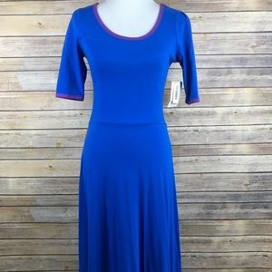 Lularoe Ana Solid Royal Blue Purple Trim Dress